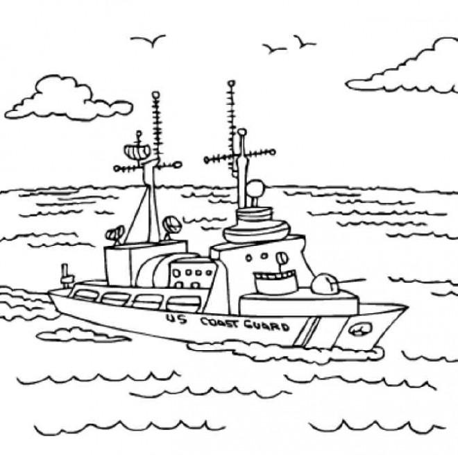 Coloriage et dessins gratuits Navire garde-côte à imprimer