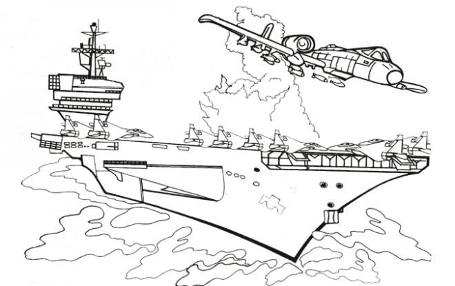 Coloriage et dessins gratuits Porte Avion couleur à imprimer