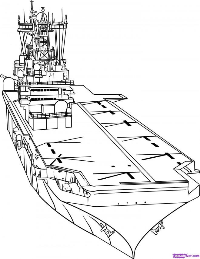 Coloriage et dessins gratuits Porte Avion de guerre à imprimer