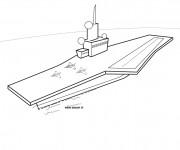 Coloriage et dessins gratuit Porte Avion militaire à imprimer