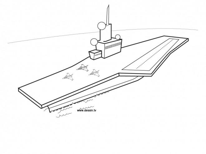 Coloriage et dessins gratuits Porte Avion militaire à imprimer