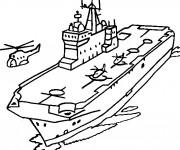 Coloriage et dessins gratuit Porte Avion sur la mer à imprimer
