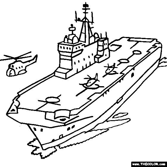 Coloriage et dessins gratuits Porte Avion sur la mer à imprimer