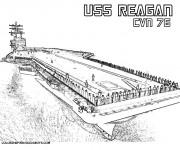 Coloriage et dessins gratuit Porte Avion USS Reagan à imprimer