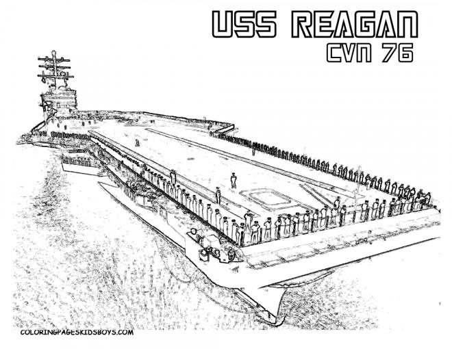 Coloriage et dessins gratuits Porte Avion USS Reagan à imprimer