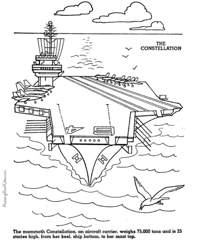 Coloriage et dessins gratuits Un Porte Avion militaire couleur à imprimer