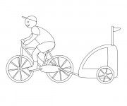 Coloriage Bicyclette Remorque