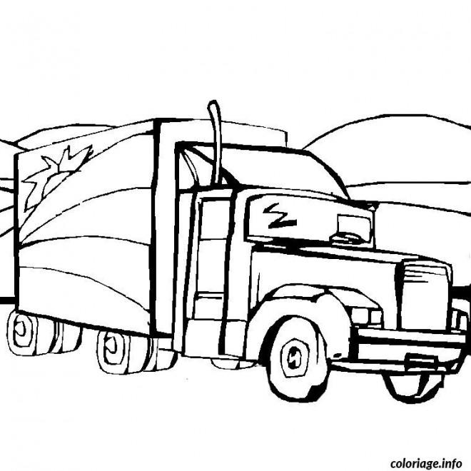 Coloriage camion remorque am ricain dessin gratuit imprimer - Camion americain dessin ...