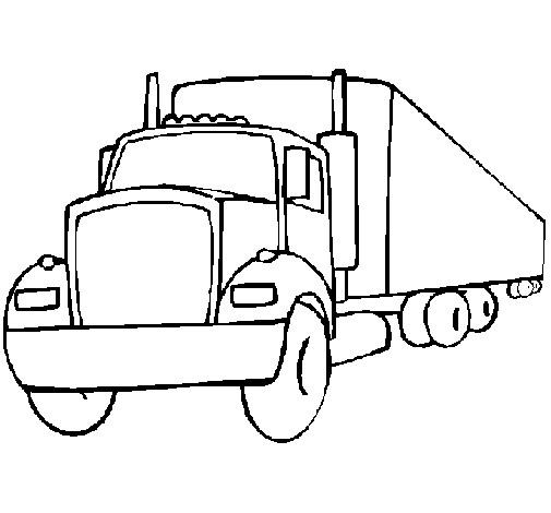Coloriage et dessins gratuits Camion Remorque en couleur à imprimer