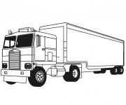 Coloriage et dessins gratuit Camion Remorque en Ligne à imprimer