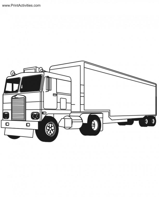 Coloriage et dessins gratuits Camion Remorque en Ligne à imprimer