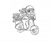 Coloriage et dessins gratuit Cheval mignon sur Scooter à imprimer