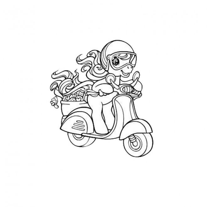Coloriage et dessins gratuits Cheval mignon sur Scooter à imprimer