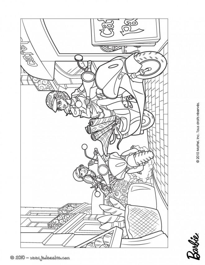 Coloriage et dessins gratuits Des Filles sur leurs Scooters dessin animé à imprimer