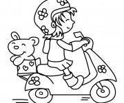 Coloriage Fille mignonne conduit sa Moto