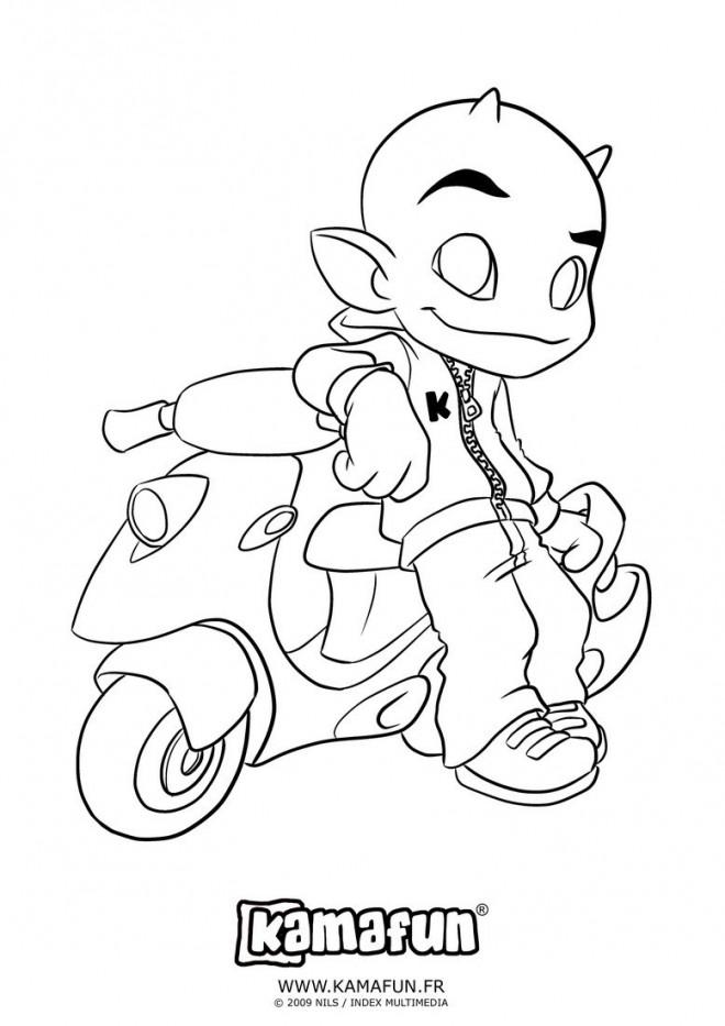 Coloriage et dessins gratuits Kamafun et son Scooter à imprimer