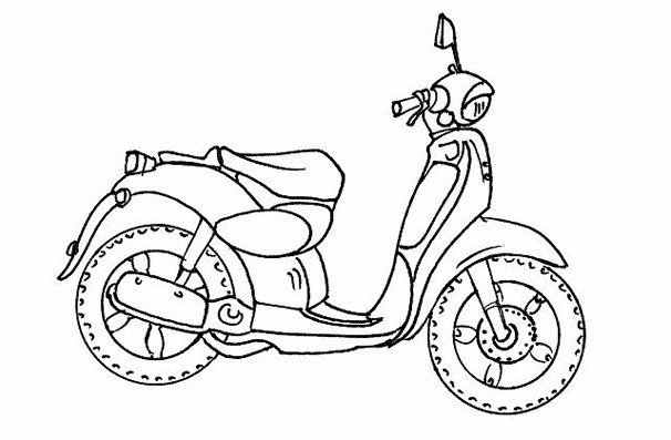 Coloriage Moto Simple Dessin Gratuit à Imprimer
