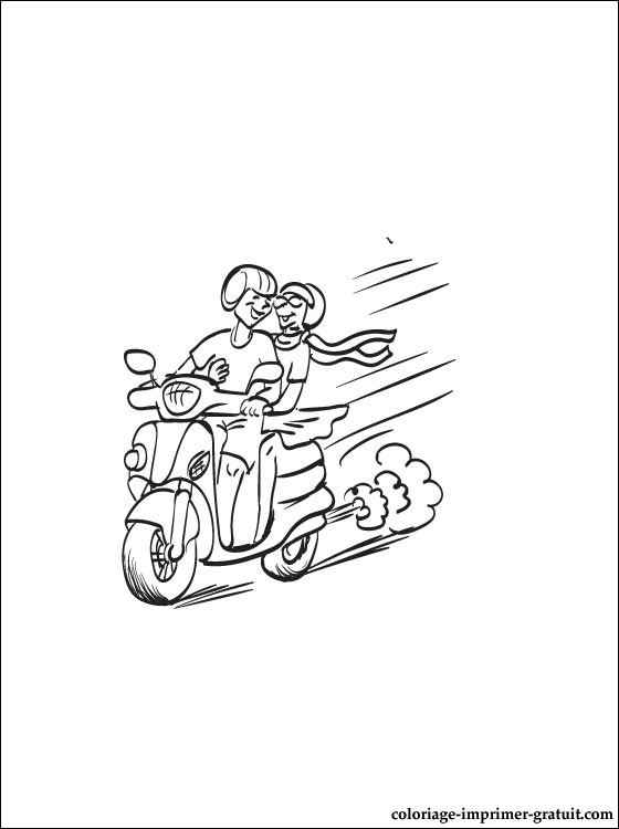 Coloriage et dessins gratuits Un couple se balade en Scooter à imprimer