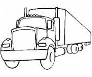 Coloriage camion longue remorque