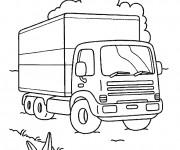 Coloriage Camion pour transport de marchandises