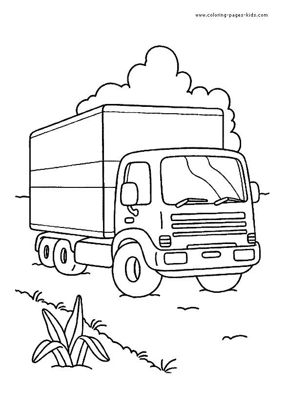 Coloriage camion pour transport de marchandises dessin gratuit imprimer - Dessin de transport ...