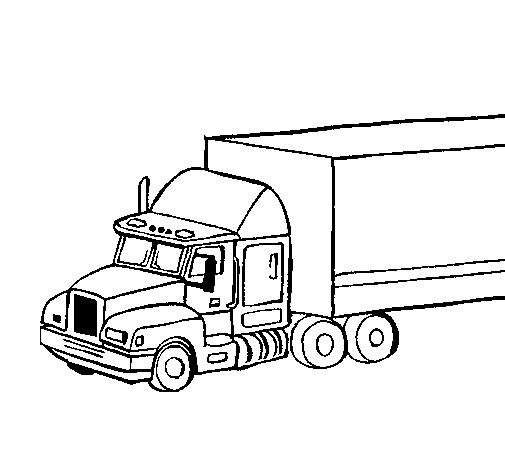 Coloriage Camion Remorque Dessin Gratuit à Imprimer