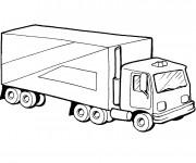 Coloriage Camion Remorque en couleur