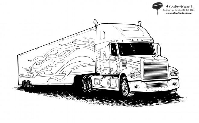 Coloriage semi remorque d corer dessin gratuit imprimer - Camion americain dessin ...