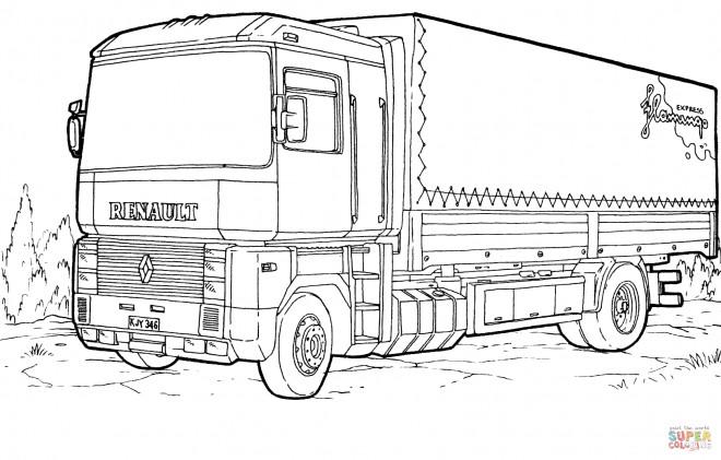 Coloriage et dessins gratuits Semi Remorque Renault à imprimer