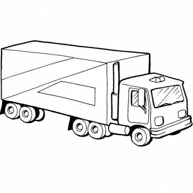 Coloriage et dessins gratuits simple camion remorque à colorier à imprimer