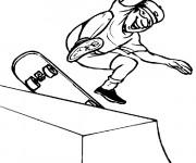 Coloriage Amusement d'un Skateur