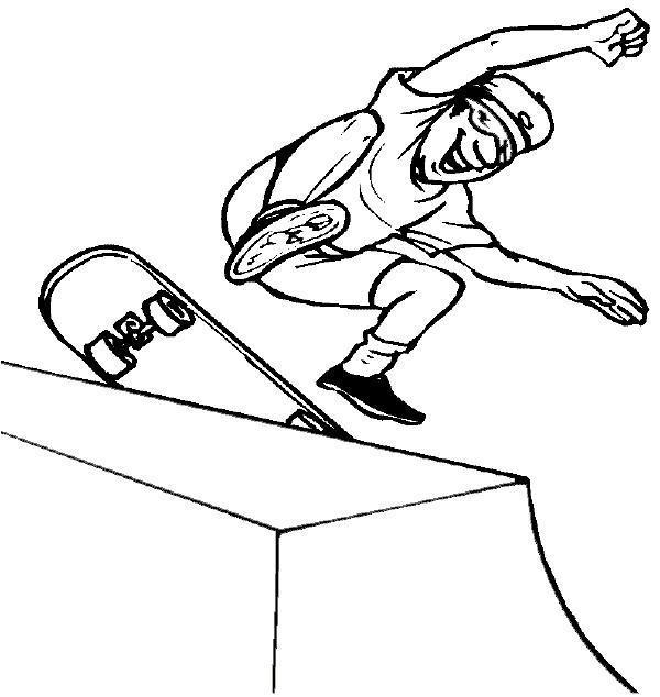 Coloriage et dessins gratuits Amusement d'un Skateur à imprimer