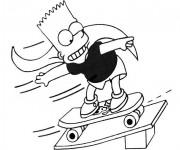 Coloriage Bart Simpson joue au Skate