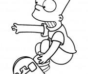 Coloriage Bart Skateur