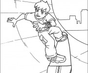 Coloriage Ben 10 utilise son skateboard
