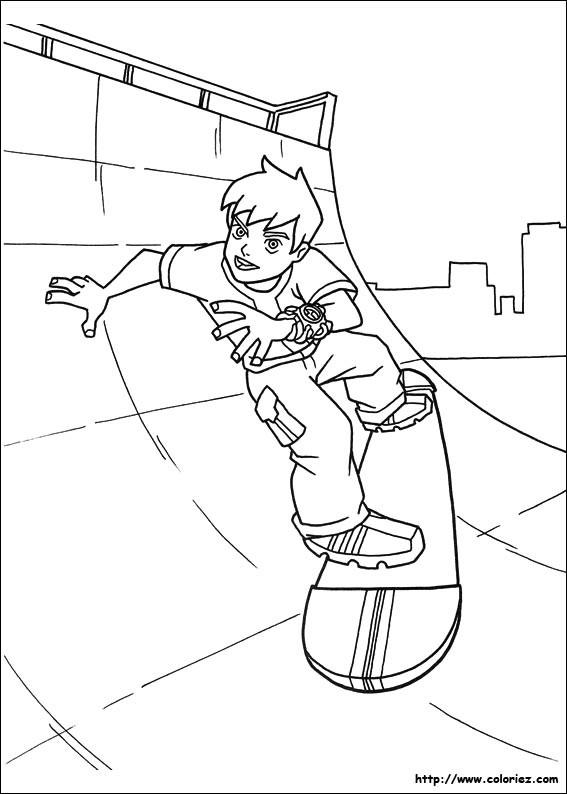 Coloriage et dessins gratuits Ben 10 utilise son skateboard à imprimer