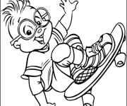 Coloriage Enfant skateur qui sourit