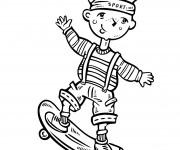 Coloriage Enfant sur sa planche Stkate