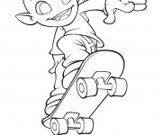 Coloriage Extraterrestre et Skateboard