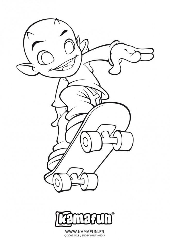 Coloriage extraterrestre et skateboard dessin gratuit imprimer - Dessin skateboard ...