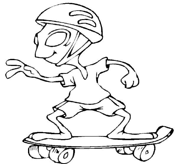 Coloriage et dessins gratuits Extraterrestre joue au skate à imprimer