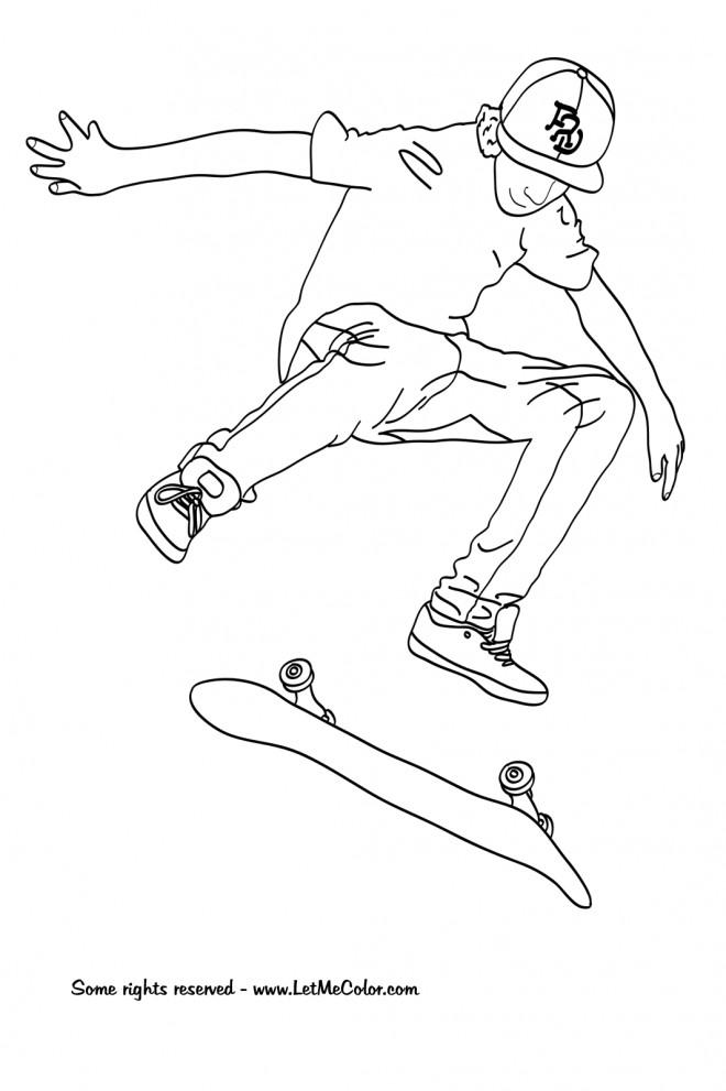 Coloriage et dessins gratuits Jeune Skateur professionnel à télécharger à imprimer