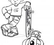 Coloriage Petit enfant Skateur