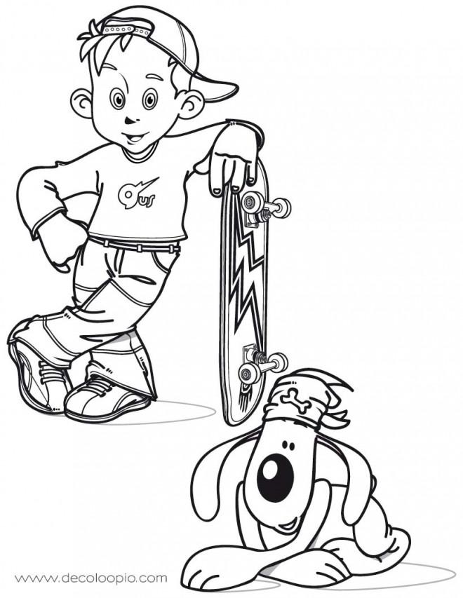 Coloriage et dessins gratuits Petit enfant Skateur à imprimer
