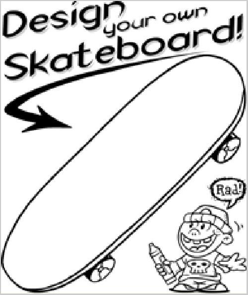Coloriage et dessins gratuits Planche Skate à décorer à imprimer