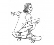Coloriage Skateboard 6