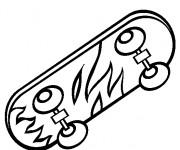 Coloriage et dessins gratuit Skateboard décoré en flammes à imprimer