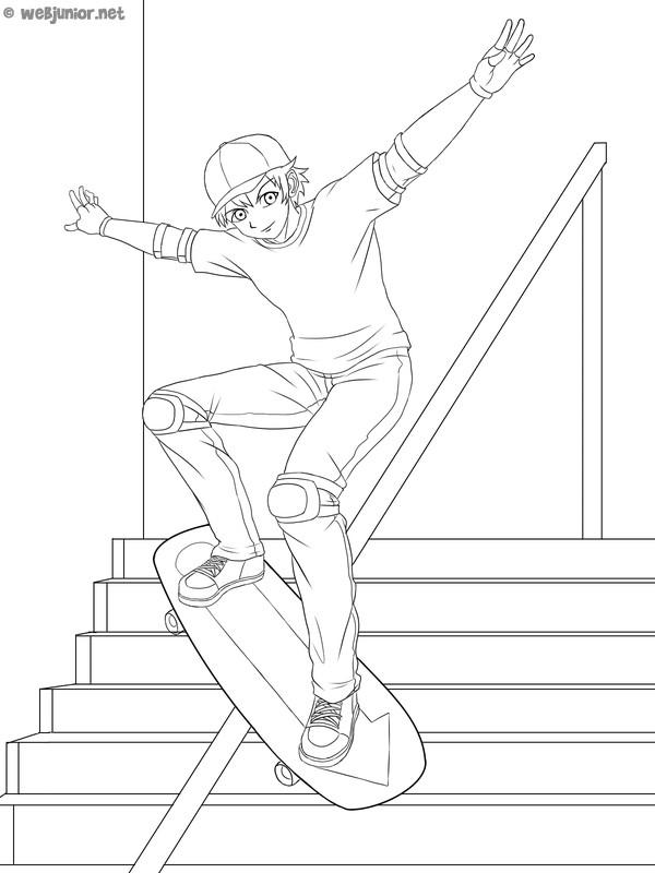 Coloriage et dessins gratuits Skateboard pour les jeunes à imprimer
