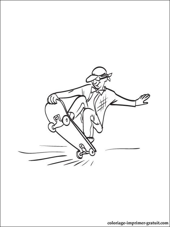 Coloriage et dessins gratuits Skateboard sur la route à imprimer