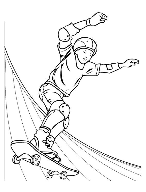 Coloriage skatepark couleur dessin gratuit imprimer - Dessin skateboard ...